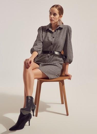 Monamoda Kazayağı Desen Yün Karışımlı Elbise Siyah